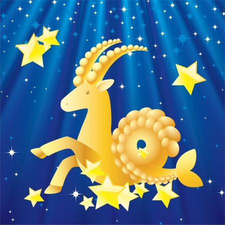 Zodiac - Capricorn Zodiac Capricorn the background of stars and rays  Vector