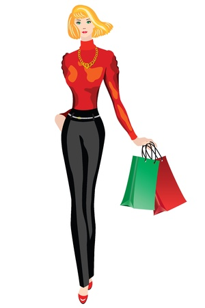 Woman with shopping  fashion model with shopping on white background Stock Vector - 16379690