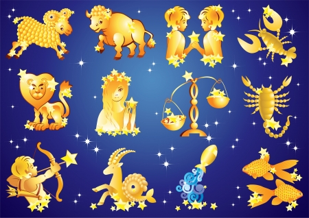 12 zodiac signs on blue background with stars