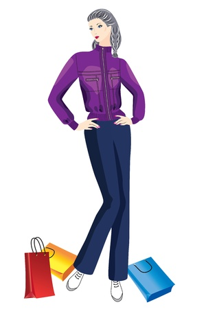 Woman with shopping fashion model with shopping on white background Stock Vector - 16551286