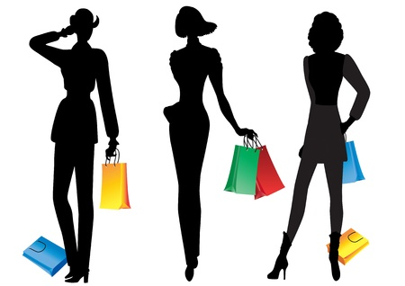 Silhouettes of women with shopping Silhouettes of models with shopping on white background Stock Vector - 16551284