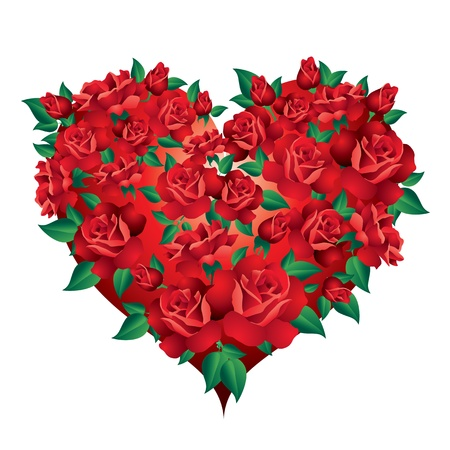 single color image: Heart of roses Heart with red roses and green leaves