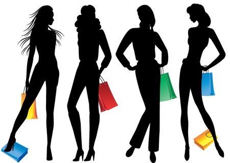Silhouettes of women with shopping Silhouettes of models with shopping on white background Stock Vector - 16675381