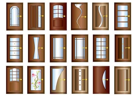 doorframe: Puerta Colecci�n de puertas marrones con mangos de oro sobre fondo blanco