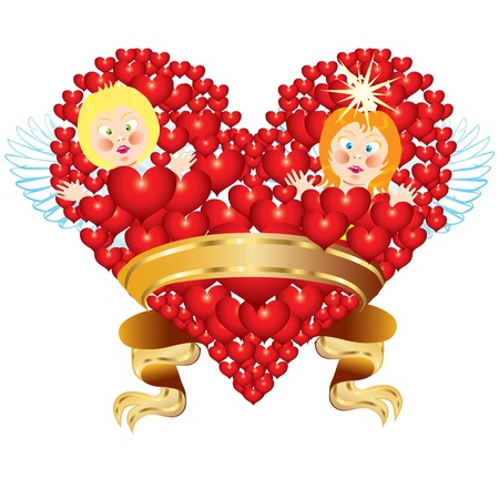 Valentines backgroundAbstract heart and with two angels Stock Vector - 17332600