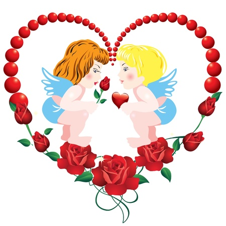 Two angels on the background of the heart of roses Vector