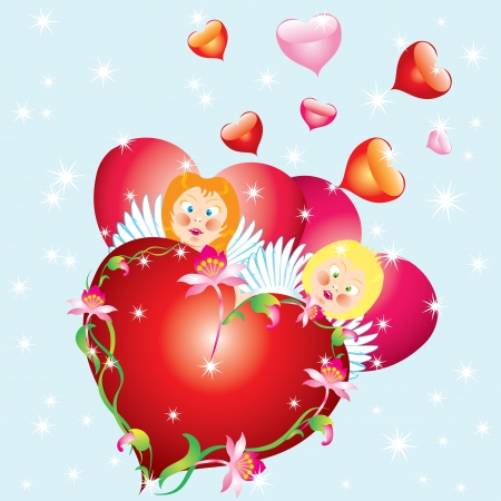Valentines backgroundAbstract background with angels and heart Stock Vector - 17459963