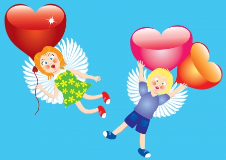 Valentines backgroundTwo angels with hearts flying in the sky Stock Vector - 17459965