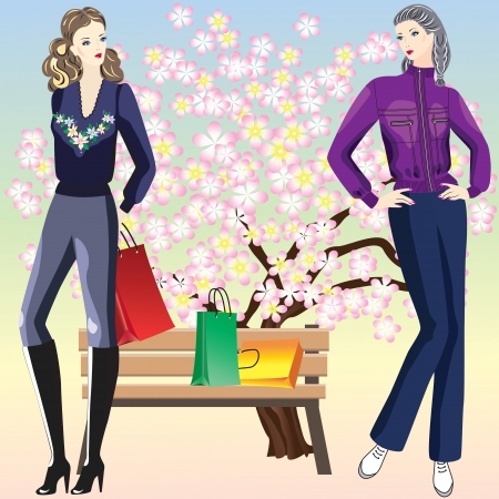 Girl with shopping in the park Two pretty girls with purchases on a background of flowering trees Vector