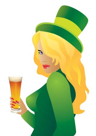 women s hat: Vector girl in a green hat with a beer in hand