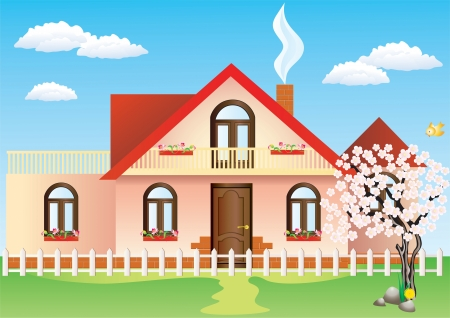front porch: Cottage and tree with flowers on the background of the spring landscape  Illustration