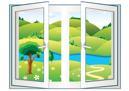 Landscape with river and green trees in the open window Vector