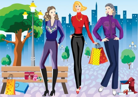 Women with shopping beautiful women with shopping on the cityscape background Vector