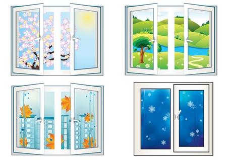 rain window: landscape in the open window