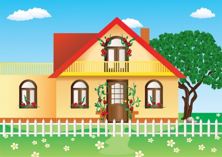 Cottage on the background of the summer landscape  Vector