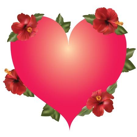 hello heart: heart, framed by flowers  Illustration