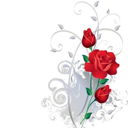 flores abstractas: Ornamento con las rosas rojas Vectores