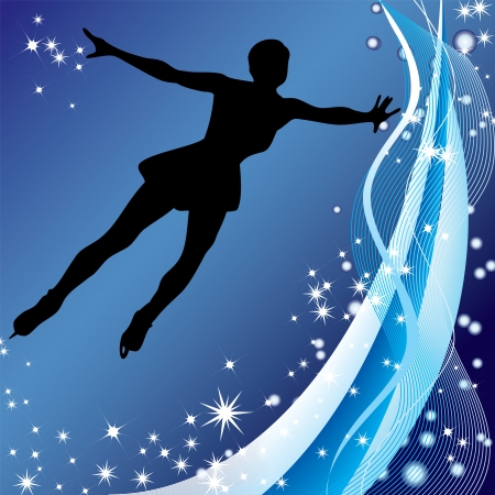 figure skater: Silhouette of professional woman figure skater