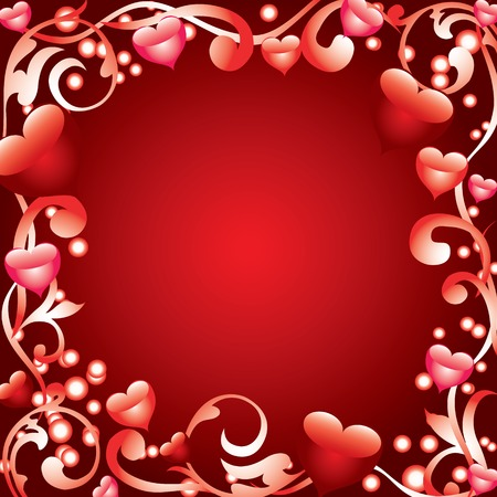 Abstract frame with hearts Vector