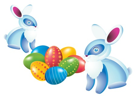Easter eggs and rabbits