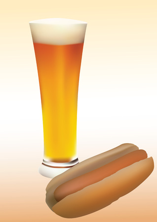 frothy: Glass of beer and a hot-dog on a yellow background.