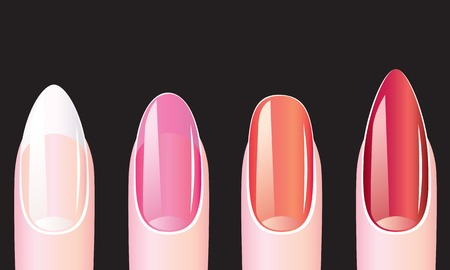 manicure pink: Female nails with nail polish on a black background Illustration