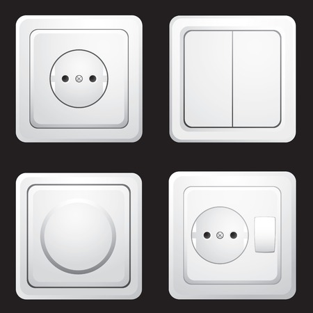 sockets: set of sockets and switches on a black background Illustration