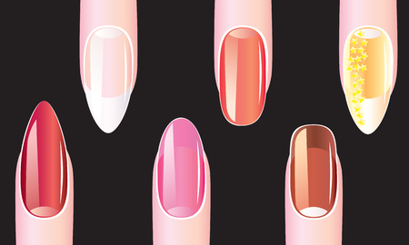 Female nails with nail polish on a black background 向量圖像