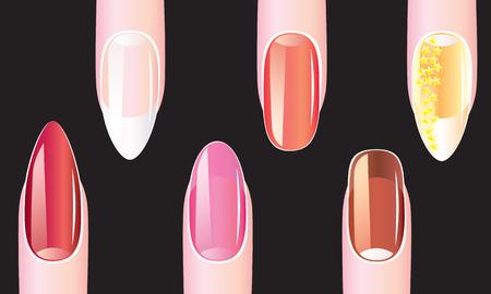 Female nails with nail polish on a black background Illustration