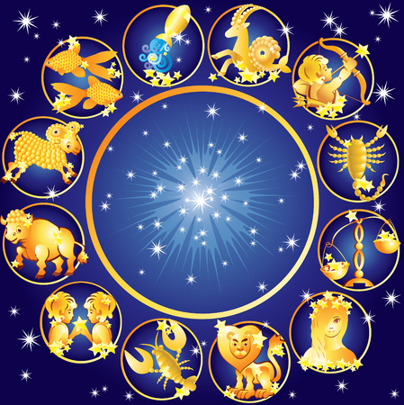 별이 빛나는 하늘 배경에 조디악의 열두 징후 일러스트