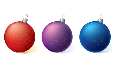 Three Christmas ornaments on a white background