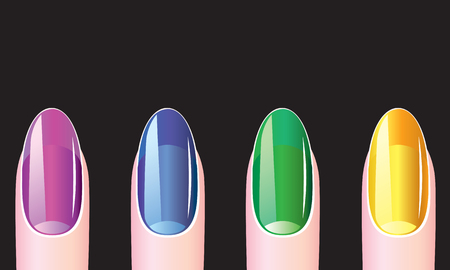 Female nails with nail polish on a black background Illustration