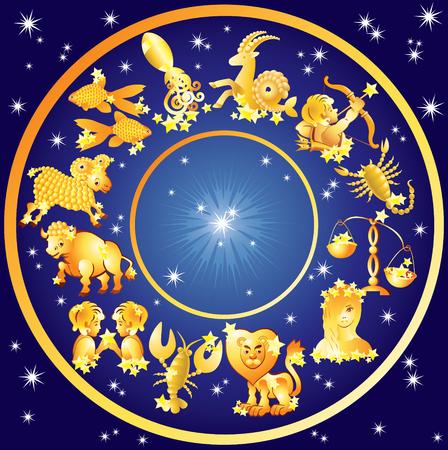Twelve signs of horoscope on a starry sky background Ilustração