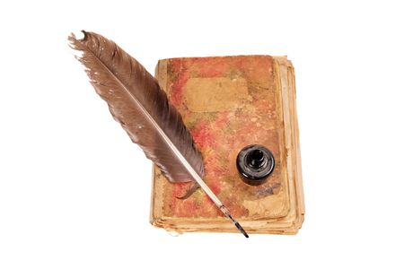 Old book, quill and black ink isolated on white Stock Photo