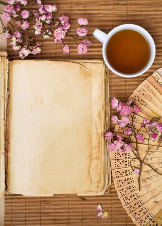 china background: Green tea and old book