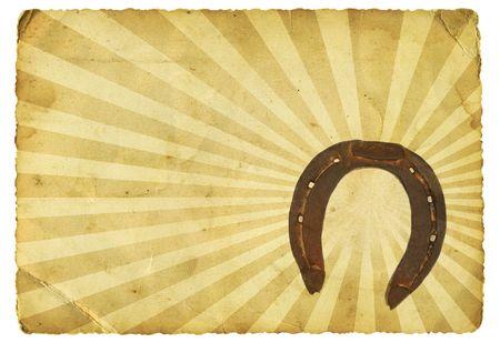 horseshoe vintage: Old paper with horseshoe Stock Photo