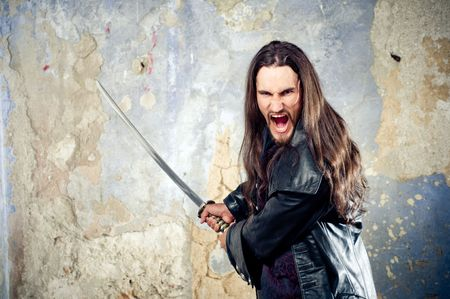 warrior: Angry young goth Stock Photo