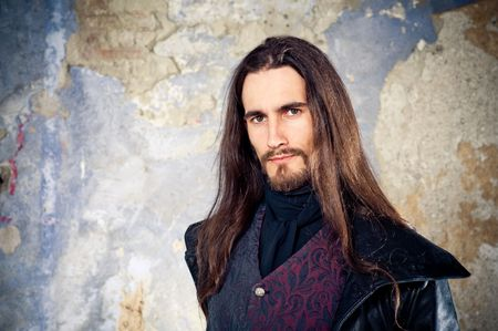 long beard: Handsome man with long hair Stock Photo