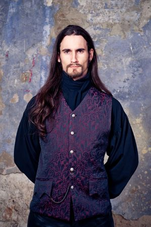 long beard: Handsome man with long hair Stock Photo