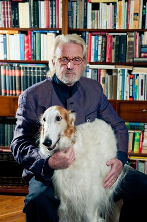 Elderly man and his dog photo
