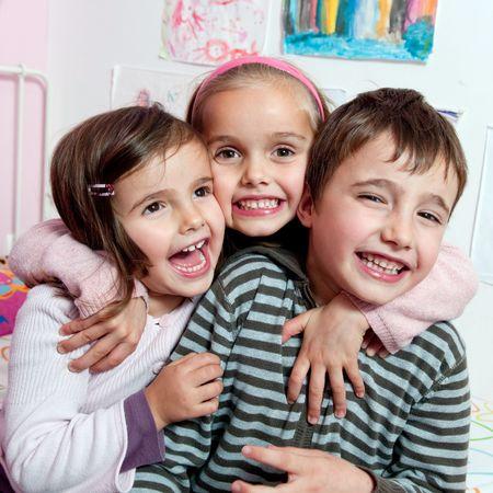 three children: Happy kids Stock Photo
