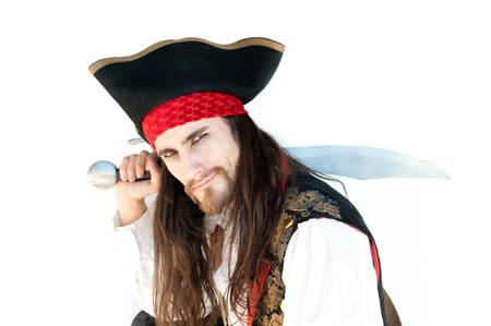 Pirate with sword on white baskground Stock Photo