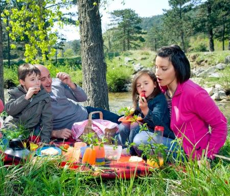 Junge Familie mit Picknick am Fluss  Lizenzfreie Bilder