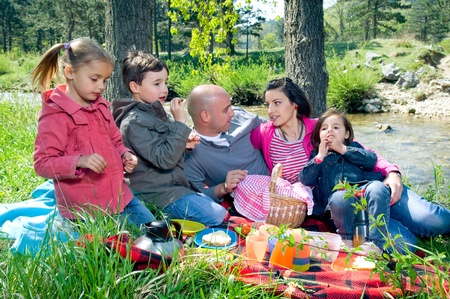 Family having picnic by the river Stock Photo - 9746217