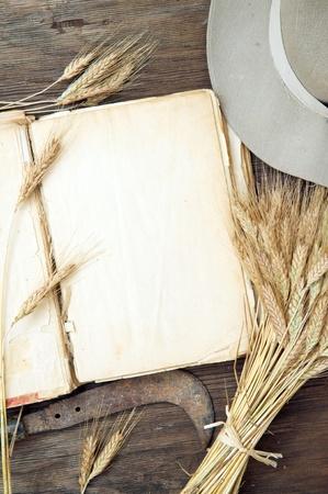 Oud leeg boek op houten achtergrond met tarwe Stockfoto