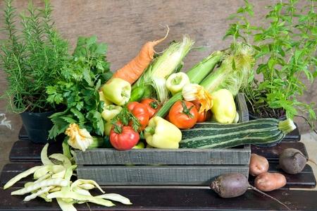 Verse groenten in houten kist Stockfoto