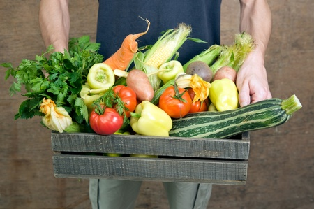 Holding wooden crate with fresh vegetables  photo