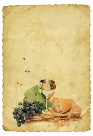 communion: Holy Communion Elements On Old Paper Background. Isolated On White.
