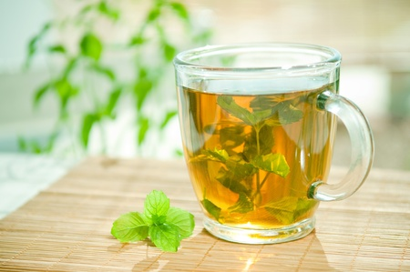 Mint tea with fresh mint leaves  Stock Photo
