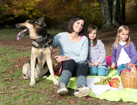 Family having picnic photo
